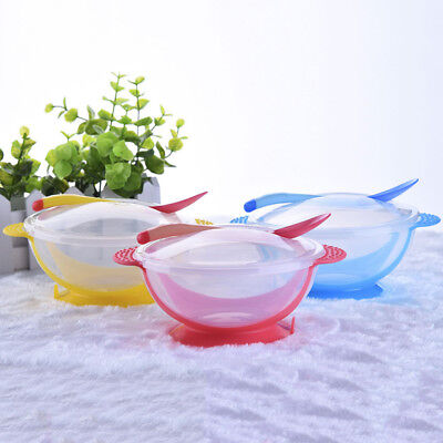 AU Baby Kids Dishes Feeding Temperature Sensing Suction Cup Bowl Tableware Set