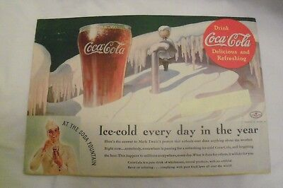 "1935 Original Coca Cola Ad - ""Ice cold every day in the year. "" 10"" x 7"" apx"