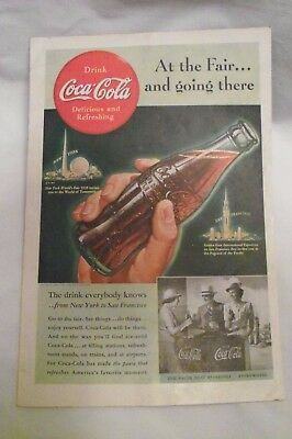 "1939 Original Coca Cola Ad - ""At the Fair and going there"" 10"" x 7"" aprox."