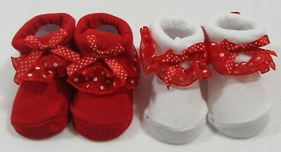 Baby Babies Girls Booties Slippers Red White Frilly Socks Festive Gift NB - 6 M