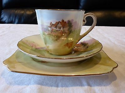 Royal Doulton England Cup Saucer Plate Trio Country Scene 1932 #1