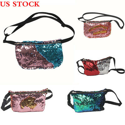 Reversible Mermaid Sequin Glitter Waist Fanny Pack Belt Bum Bag Pouch Hip  Purse 0ca923145440