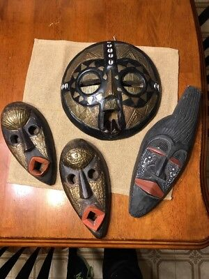 Lot Of 4 African Masks Hand Carved In Ghana