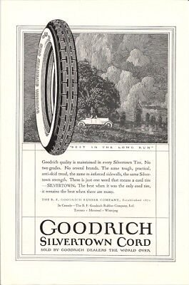 Goodrich Silvertown Cord Best in the Long Run Vintage Ad 1923