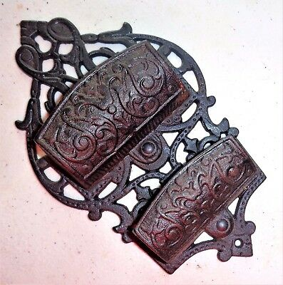 Vintage Ornate Wall Mounted Cast Iron Double Match Holder Signed Iron Art LB-14