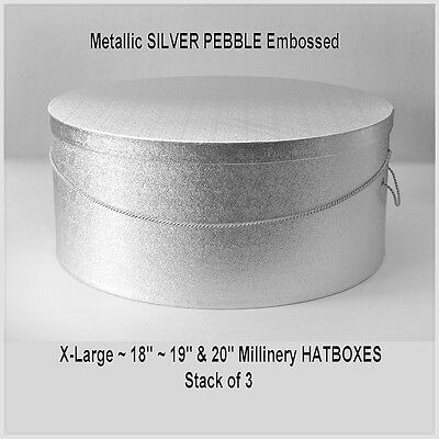 "XLarge Metallic SILVER PEBBLE Millinery HATB0XES ~ 18"" ~ 19"" ~ 20"" ~ Stack of 3"