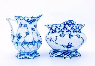 Blue Fluted #1032, #1113 - Royal Copenhagen - Sugarbowl & Creamer - 1:st Quality