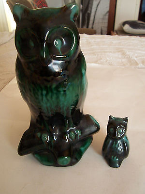 Lot Of 2 Vintage Blue Mountain Pottery Owls - Large And Small