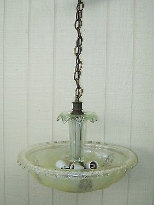 1930's Art Deco Vintage Ceiling Lamp Fixture Glass Chandelier Four Lights
