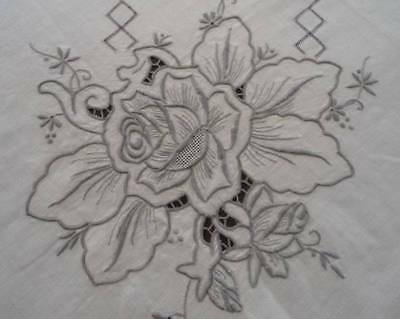 Vintage Madeira Linen Tablecloth Embroidered Roses Honeycomb Lace Unused 85""