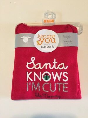 New Cute Carter's Santa Knows I'm Cute Like Mommy Bodysuit Size 9 months