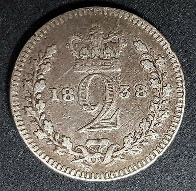 1838 Queen Victoria Maundy Silver 2 Pence