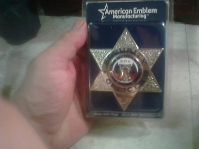 Silver Security Officer Badge 6 Point Star Very  High Quality, American Emblem !