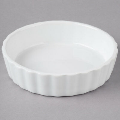 8 oz. Round Bright White Fluted Porcelain Souffle / Creme Brulee Dish - 12/Pack
