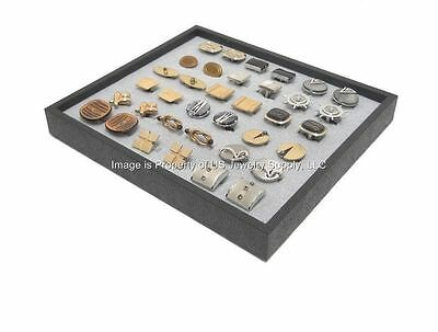 12 New Cufflinks Organizer Display Grey Pads with Black Plastic Stackable Trays