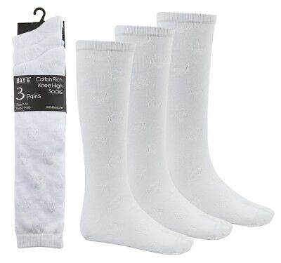 Girls School Socks 3 Pack White Hearts Pattern Textured Knee High Socks Bnwt