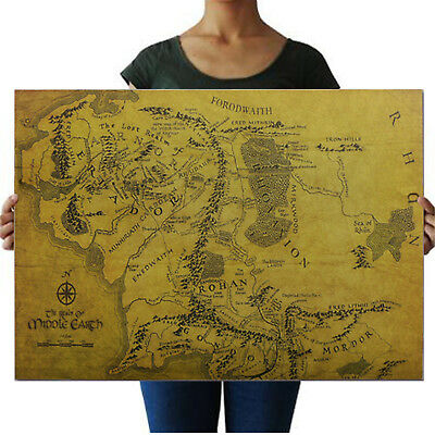 Fashion Map Of Middle Earth Lord Of The Rings HD Poster Art Print Photo WOW