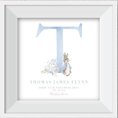 Personalised Peter Rabbit SW CRYSTAL name print gift picture nursery baby art