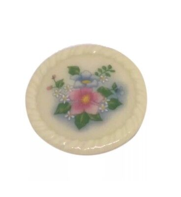 Vintage Avon Floral Broach Round Ceramic Pin Jewelry Craft Retro Costume