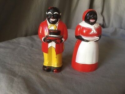 VINTAGE BLACK AMERICANA SET OF 2 AUNT JEMIMA SALT and PEPPER SHAKERS SMALL