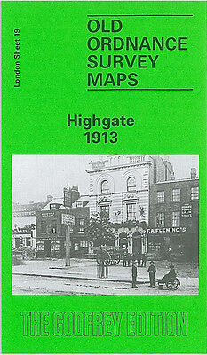 Old Ordnance Survey Map Highgate 1913 Archway Road Hampstead Lane Crouch End
