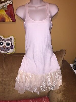 free people intimately Pink Lace Slip Dress Nightgown Small S Top Tunic