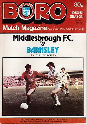 Middlesbrough v Barnsley FA Cup 5th Round 1980/81
