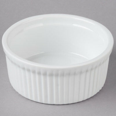 10 oz. Round Bright White Fluted Porcelain Souffle / Creme Brulee Dish - 24/Case