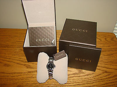 GUCCI YA090506 Watch Women's Stainless Link Bracelet Black Dial Quartz Date NEW*