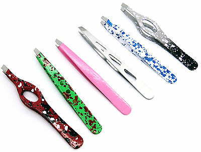 Tweezers Design Bright Colors Easy Picking Smooth Grip Full Makeup Set of 6 Pcs