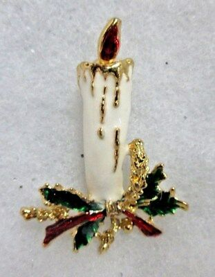 Vintage Christmas Holiday Gold Tone Enamel White Candle Brooch  2""