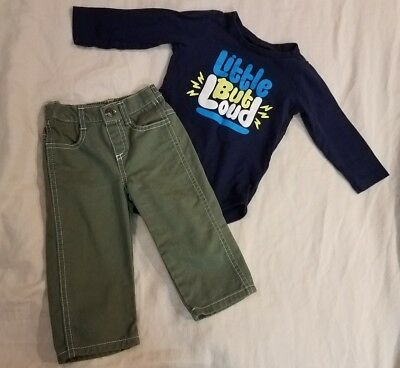 """Baby Boy 2 Piece Fall Winter Outfit """"little But Loud"""" Long Sleeve Onsie Pants"""