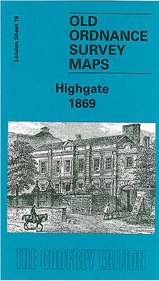 Old Ordnance Survey Map Highgate 1869 Archway Road Hampstead Lane Crouch End