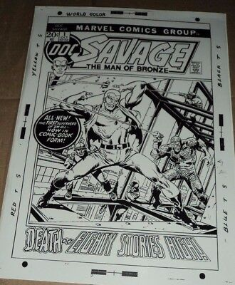 Doc Savage Pulp Hero N# 1 Detective Cover Production Art Acetate Page