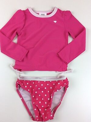 Old Navy Girls Two-Piece Swimsuit Long Sleeve Top and Bikini Botton Pink Size 3T