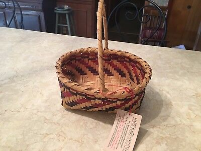 Mississippi Choctaw Basket Conehatta Swamp Cane Signed Annie Billy Tag Numbered