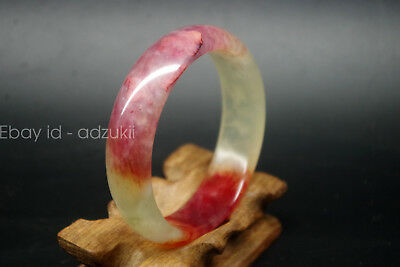 Exquisite Vintage Chinese old natural red bloodshot jade hand carved bangle A138
