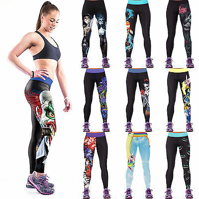 Womens Digital Print YOGA Workout Sports Pants Leggings Fitness Stretch Trousers