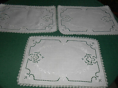 Antique Placemats, 3 White Linen Placemats With Needle Lace Hand Work, Circa1920