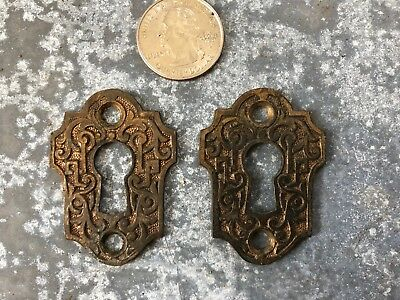 Pair of Vintage Ornate Victorian cast brass key hole escutcheons covers