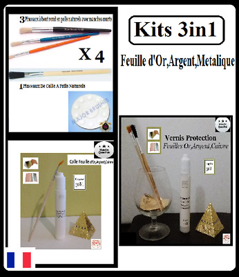 Kits 3in1 Mixtion Pinceau Colle Vernis Feuille d'or,d'argent,Gold Sheets Paper