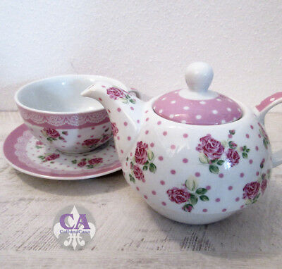 #10762 Teekanne Tasse Porzellan Tea for one Set Rose Weiss Rosa Shabby Landhaus