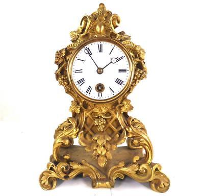 Antique French Gilt Bronze Rococo Mantel Clock Scrolling Acanthus Leaves