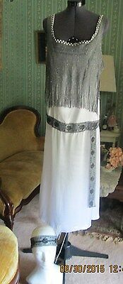 Roaring 20s Flapper 3pc Gatsby Art Deco Restyled Dress Downton Costume  8