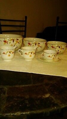 Vintage Hall's Autumn Leaf Bowl Set with 3 cups and saucer Superior Quality