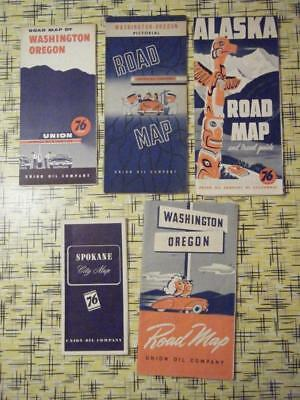 5 Union 76 Service Station Maps Round & Rectangle Signs Minute Man Alaska Other