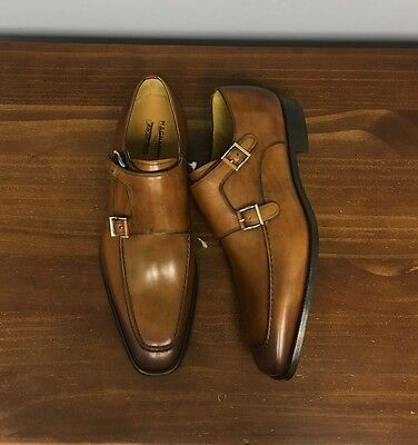 $465 BN! Magnanni Monk Strap Cap-Toe Brown Burnt Tips Leather Dress Shoes Sz9