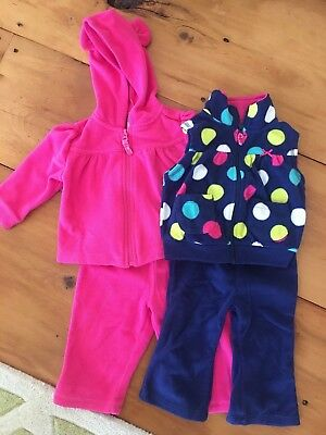 Lot of Two Warm Baby Girl Outfits, Carters and Old Navy, Size 12 Months