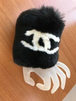 nwt Chanel Black Fur  Hand Warmer Bracelet Large CC