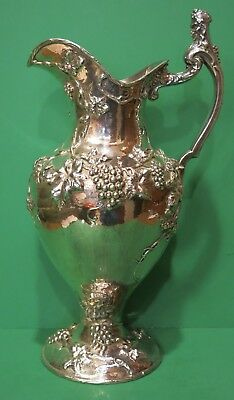 "Antique Shreve & Co San Francisco Sterling Bacchus Grape Pitcher 16"" 64 oz"